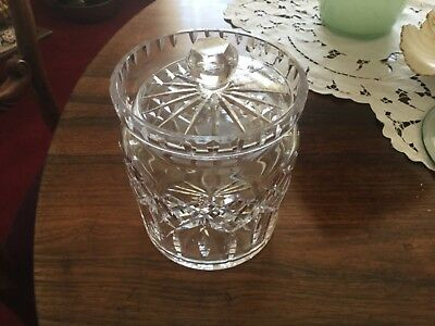 """Ireland Waterford Lismore ? Crystal Lidded 6"""" Biscuit Barrel Signed WATERFORD VG"""