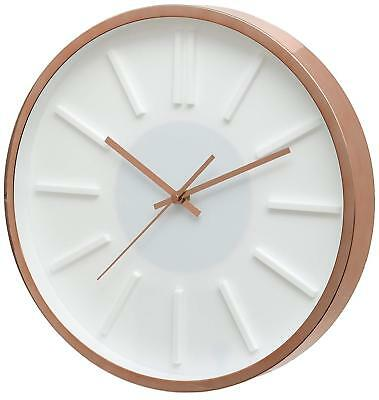 Home Office Kinross White Dial Silent Sweeping Wall Clock Rose Gold Case 14""