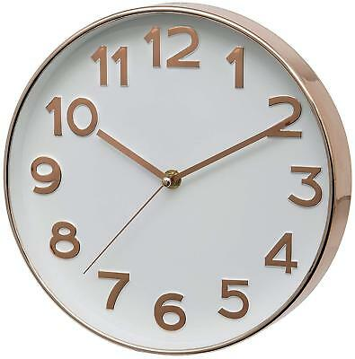 Home Bakewell Wall Clock Raised Numbers Silent Sweeping Metal Rose Gold 25cm