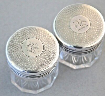 Antique pair sterling silver heraldic victorian cut glass dressing table jars