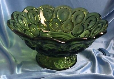 L.E. Smith Moon and Stars Green Large Pedestal Compote Dish Bowl Vintage