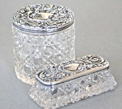 Antique pair sterling silver cut glass dressing table jars