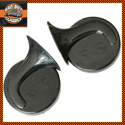 12v Black Twin Snail Horns High / Low Tone For CLASSIC CARS
