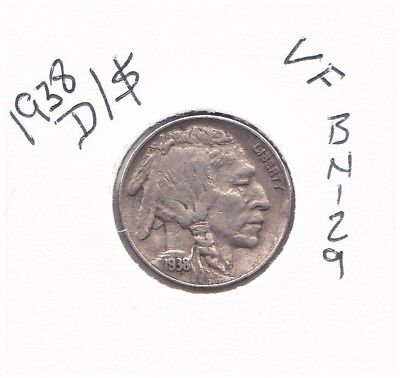 1938-D/s Buffalo Nickel Vf Bn129
