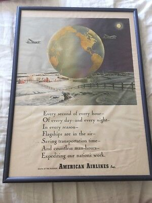 american airlines aa mission statement framed promotional advertising poster