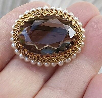 Vintage Art Deco Jewellery Lovely Citrine Crystal Agate & Pearl Gold Brooch Pin