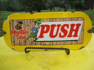 Old Vintage Mountain Dew Push Door Porcelain Advertising Sign