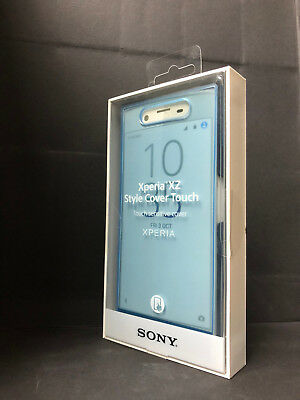 100% Genuine Sony Xperia XZ Style Cover Touch Protective Flip Case Cover - Blue