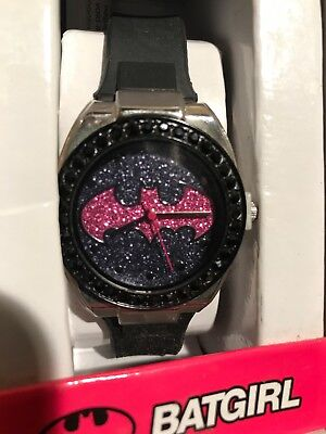 Accutime Batgirl Watch • Black And Pink Face • Working