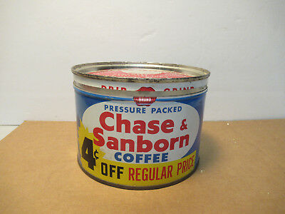 Vintage Coffee Can Chase & Sanborn 1 Lb With Lid Good Color
