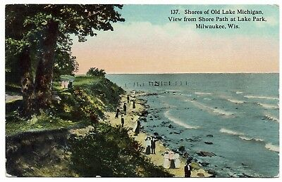 AK USA Post Card Shores of Old Lake Michigan View fr. Shore Path ungelaufen 1913