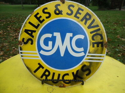 Vintage Gmc Trucks Sales & Service Porcelain Enamel Dealership Sign