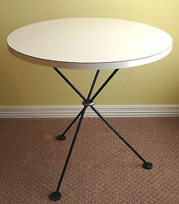 Mid Century Modern Formica & Iron Occasional Side End Table ~ Cross Legs Tripod
