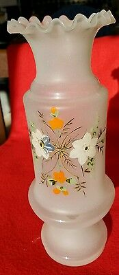 Absolutely Beautiful Vintage Hand-Blown And Hand-Painted Bristol Glass Vase.