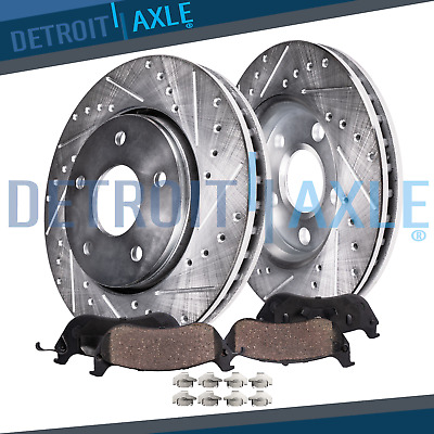 Front Drill Slot Brake Rotors /& Ceramic Pads For 2006 2007 Pontiac G6 4Cyl