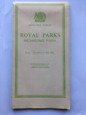 Richmond Park 'Royal Parks' Ordnance Survey Map 10 Inches to One Mile 1968