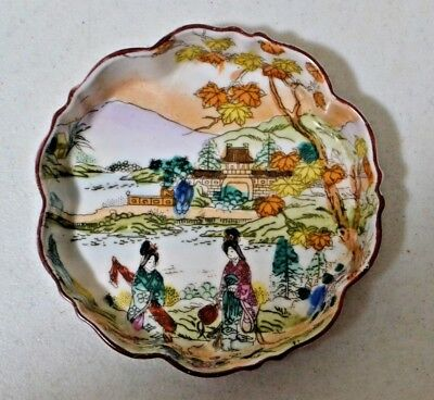 Antique Japanese Porcelain Dish Bowl Hand Painted Fall Colors Trinket Dish