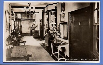 Old Vintage Rp Postcard Entrance Hall At The Bear Woodstock Oxfordshire