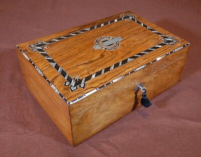 Antique rosewood box with metal, ebony and mother-of-pearl ornaments. R1020381