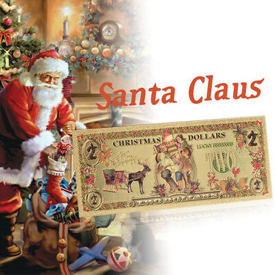 WR Merry Christmas Santa Claus Colored $2 Two Dollars Banknote US Xmas Gifts Kid