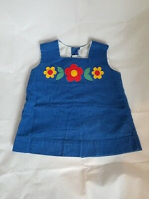 Vintage Girls Blue Corduroy Romper Dress with flowers 18months/2t??
