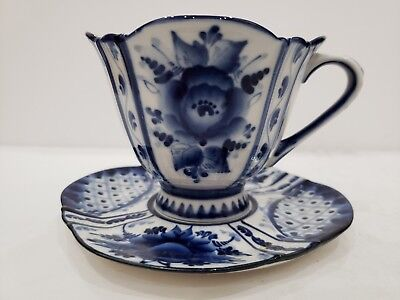 Porcelain Gzhel Cup & Saucer Set / work handmade in Russia