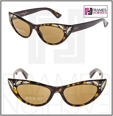 90f9edc71cf94 GUCCI 3807 Brown Havana Mother Of Pearl Thin Cat Eye Sunglasses GG3807S  Vintage