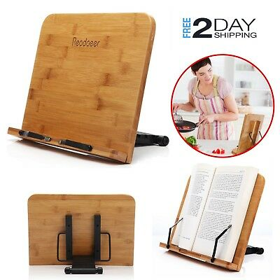 Bamboo Book Stand Holder Rack Adjustable Document Cookbook Rest Reading Desk