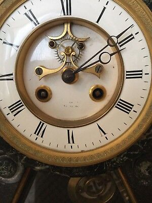 Antique 19th Century French Black Slate & Variegrated Marble Mantel Clock