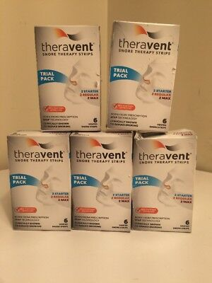 Lot Of 5 Packs Theravent Snore Therapy Trial Pack Nasal Strips 30 Night Supply