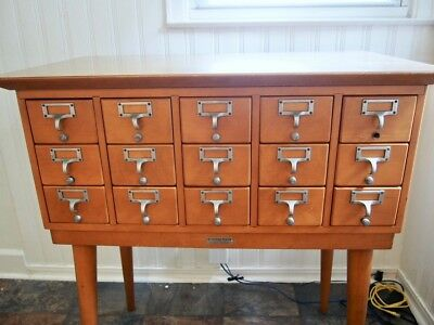 Buckstaff Company Mid Century Modern Library Card Catalog with all Cards intact