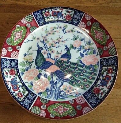 Antique Very Large Chinese Plate Peacock's