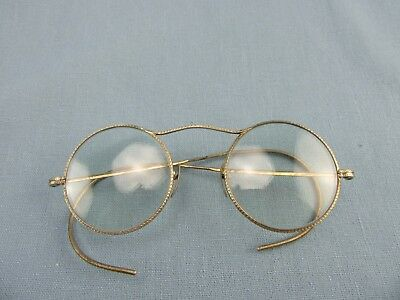 Antique Wire Rim Eyeglasses  w/ Round Lenses Marked AAA
