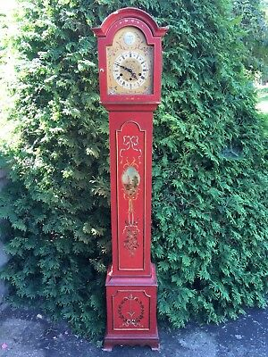Antique Diminutive Red Lacquered Grandfather/Grandmother Westminster Clock