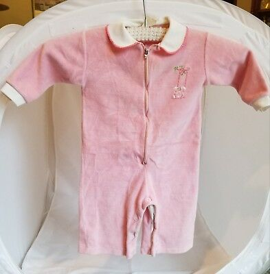 Vintage infant baby girl pink sleeper 12 months w bunny pre-owned