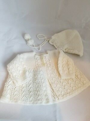 Vintage Handmade Knitted Baby Sweater and Hat 0-6 Months white w bird buttons