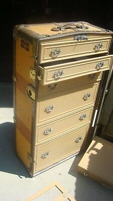 Vintage antique wardrobe USA Trunk Co  Steamer Trunk with drawers Train baggage