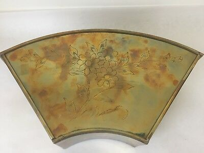 Vintage Brass Plated Metal Floral Etched Wall Planter (S2)