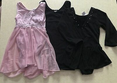 Lot of 3 Dance Outfits Size 4/X-SM Pink & Black  Leotards