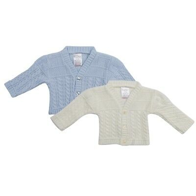 KNITTED BABY BOYS CARDIGANS BLUE/ECRU NB, 0-3, 3-6mth
