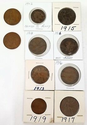 * Lot Of 10 Great Britain Penny And Half Penny Coins Various Years