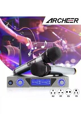 ARCHEER VHF Bluetooth Wireless Dual HandHeld Microphone System w/2 Mic KTV Home
