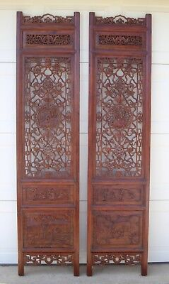 2 Antique Vintage Chinese Asian Wood Carved Panel Floor Screen Wall Decor Pair