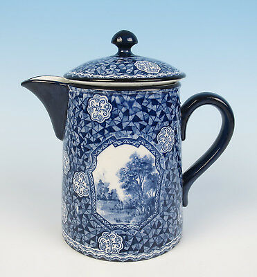 Antique Royal Bonn Silvano Lidded Pitcher Hot Water Jug Pot Blue Transferware