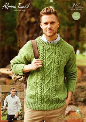 2618149ef Stylecraft 9007 Mens Cable Sweaters Stylecraft Alpaca Tweed Dk Knitting  Pattern