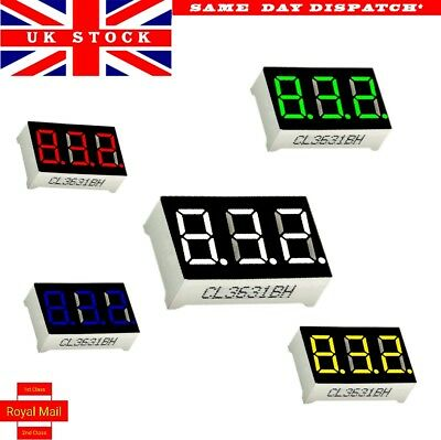 "LED Display tube 3 Digit 7segments 0.36""  common anode 5 colours"