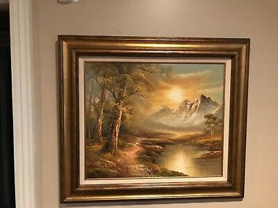 Oil painting on canvas of river and forest mountain scene