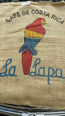 2 Colorful Burlap Coffee Bags Sack ~~1 Parrot & 1 Native~Craft-~Gunny