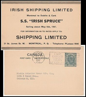 S.S. IRISH SPRUCE 1947 SAILING NOTICE MONTREAL to DUBLIN & CORK on CANADA POSTAL