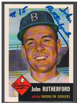 John Rutherford Signed Autograph 1991 1953 Topps Archives Card #137 Auto Dodgers